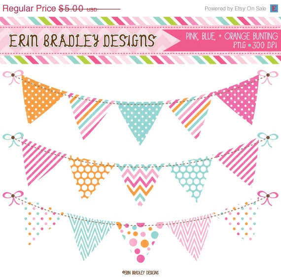 Single clipart bunting Blue Pendant Pink free flag