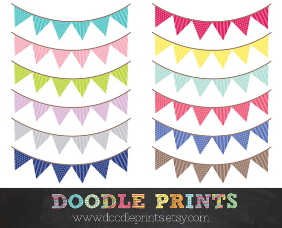 Bunting clipart triangle banner Digital Banner Buntings Art Triangle