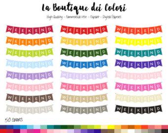 Pendent clipart weekend banner Garland art clipart Etsy Rainbow