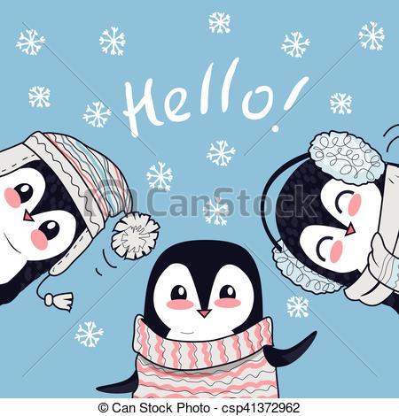 Penguin clipart banner Art Little Greetings Vector