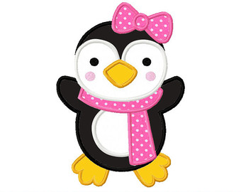 Penguin clipart girly Applique Design for Winter
