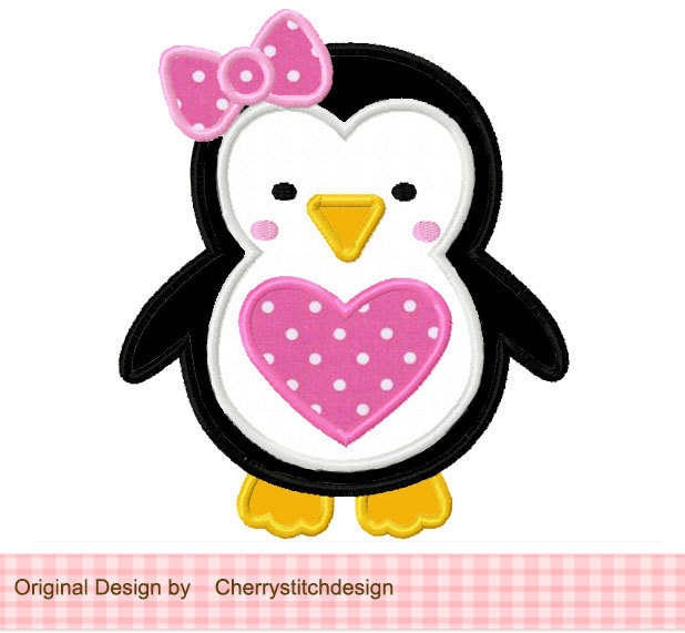 Penguin clipart girly Applique Design for heart