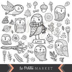 Penguin clipart hand drawn  Drawn Cute Owl Cute