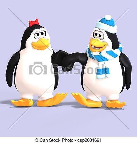 Penguin clipart penguin couple Love cute couple of Illustration
