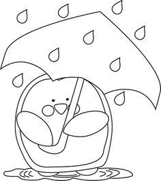 Penguin clipart rain Clip and clip black White