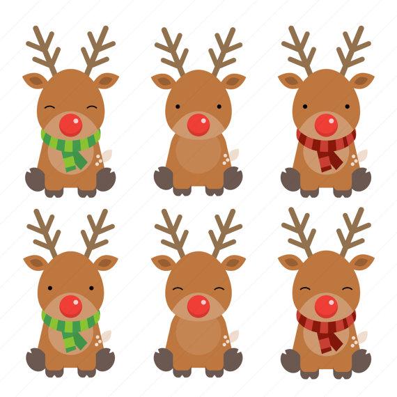 Penguin clipart reindeer / digital Clipart Christmas /