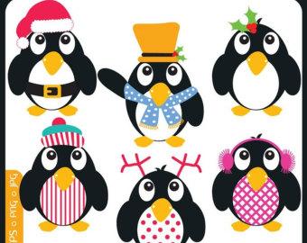 Penguin clipart snow ice ORIGINAL Penguins set snow Etsy