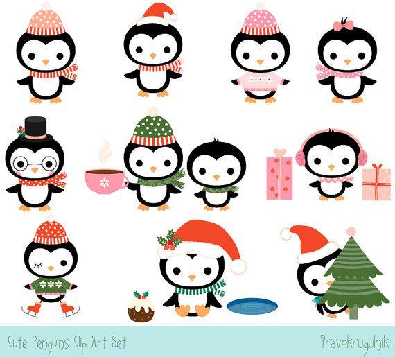 Penguin clipart tough Set Cute Character Kawaii Christmas
