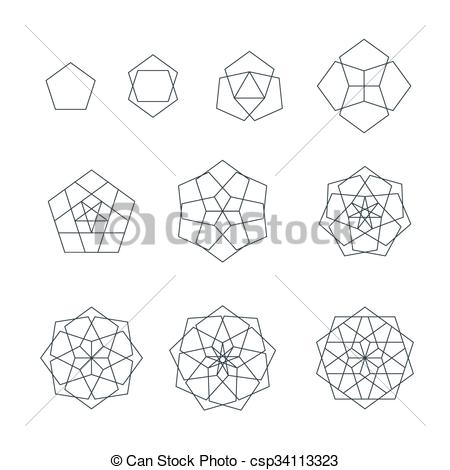 Pentagon clipart geometry Sacred set contour pentagon