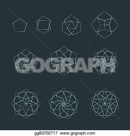 Pentagon clipart geometry Stock isolated monochrome elements decoration