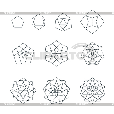 Pentagon clipart geometry Pentagon background sacred isolated collection