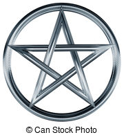 Pentagram clipart Silver of Art Isolated an