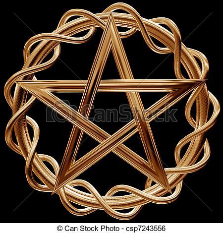 Pentagram clipart drawing An of pentagram Golden Illustration