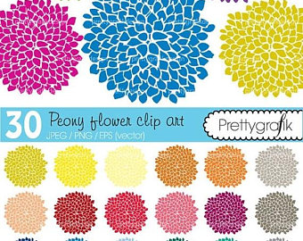 Peony clipart abstract flower Vector clipart Etsy 80% use