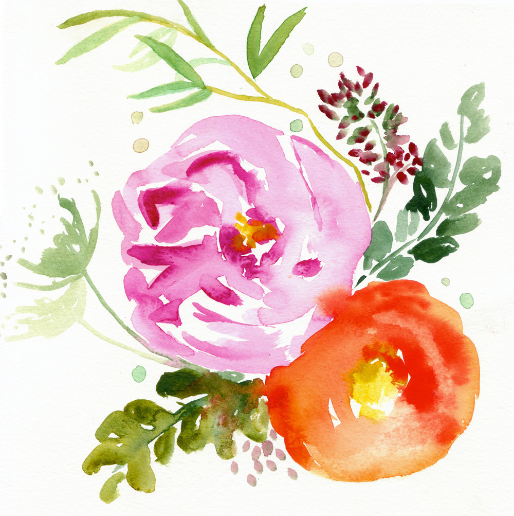 Peony clipart abstract watercolor Eva Illustration peony Giclee painting