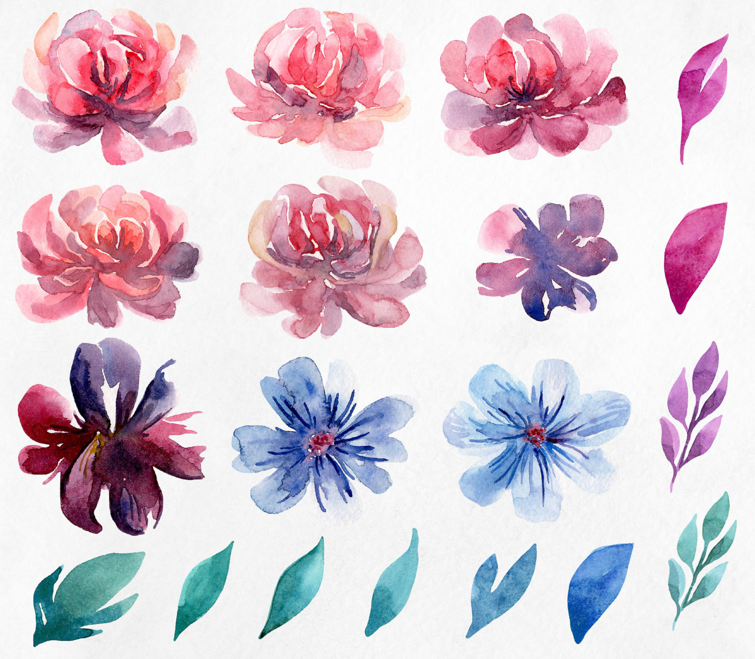Peony clipart abstract watercolor This clip clipart Pink hand