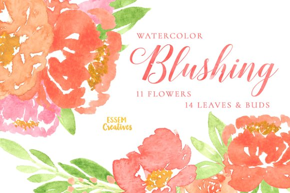 Peony clipart abstract watercolor Pink Peonies on ~ Creative
