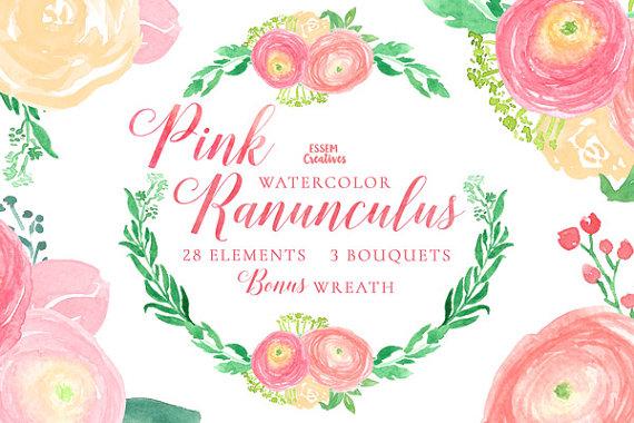 Ranuncula clipart blush flower Wreath  Invitation Watercolour Flowers