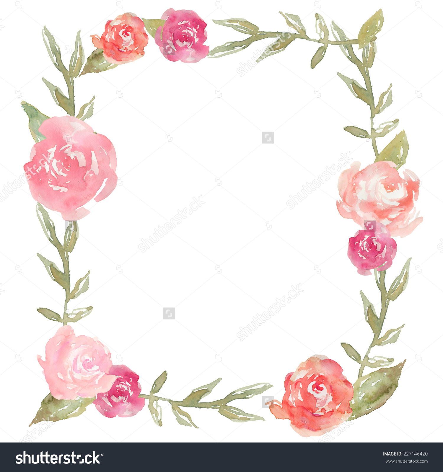 Square clipart watercolor Watercolor Peony With Peony Wreath