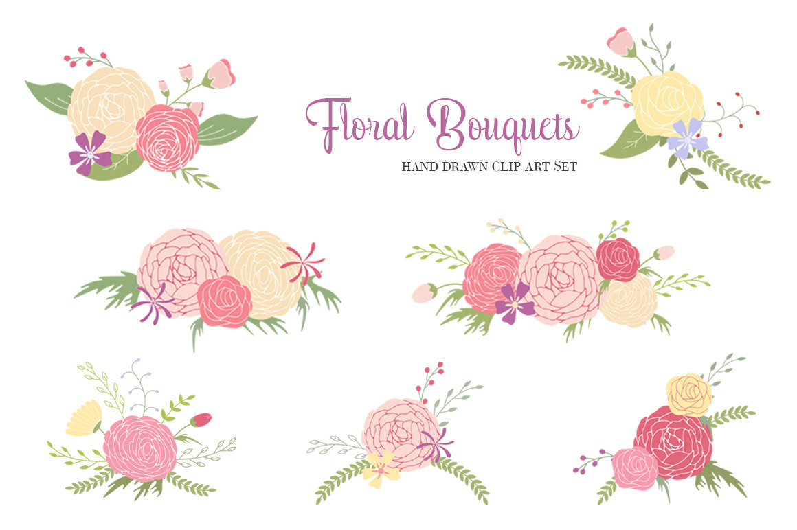 Peony clipart flower bunches + Flower elements Art Clip