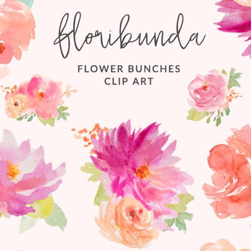Peony clipart flower bunches Clip Floral Watercolor Floribunda Art