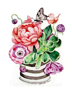 Peony clipart flower vase Watercolor free are A