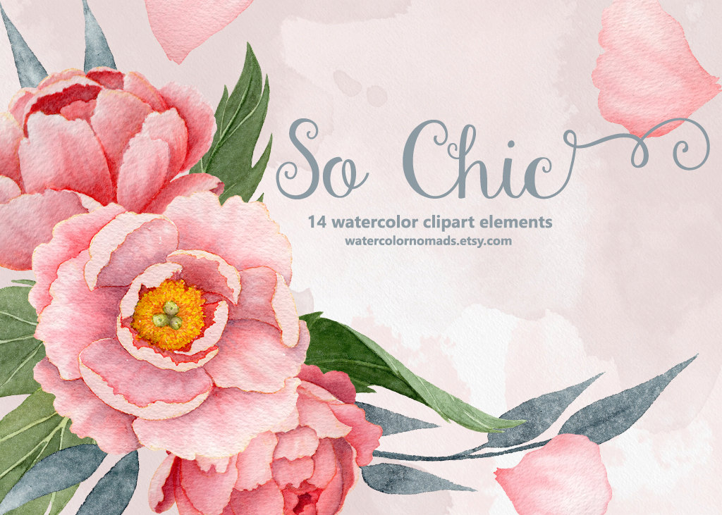 Peony clipart peony flower Stationery flower Like boho item?