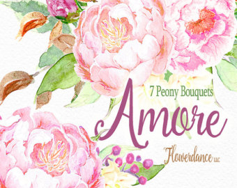 Peach Flower clipart peony Clipart bouquetframe Peony Bouquet Peach