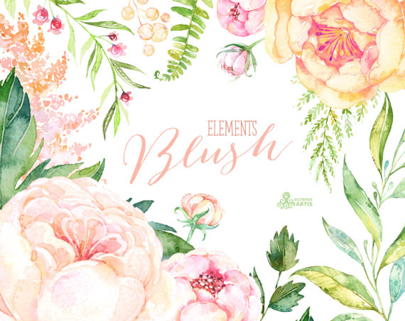 Peach Flower clipart blush flower Shower Watercolor sign Floral pink
