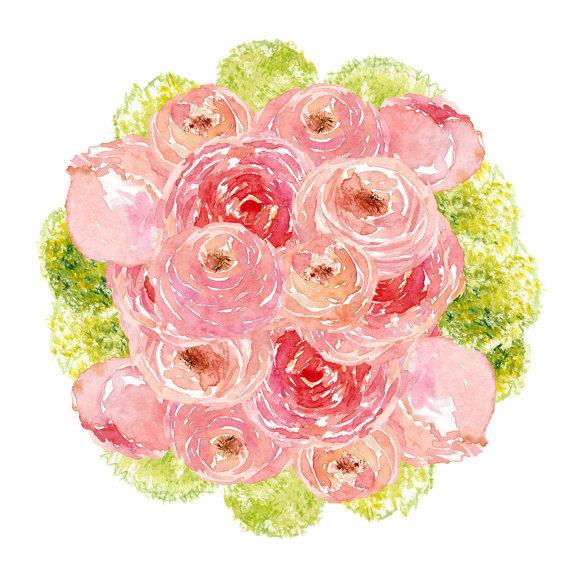Peony clipart watercolor flower Watercolor Digital by Flowers Watercolor