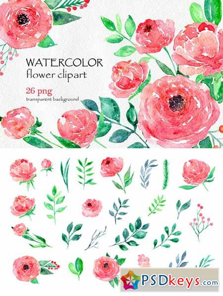 Peony clipart watercolor flower Peony Watercolor set 26 peony