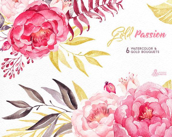 Peony clipart watercolor flower Painted floral Gold Hand hand