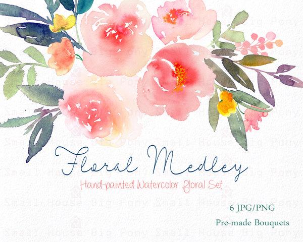 Peony clipart watercolor flower Art Bouquet Digital Clip peonies