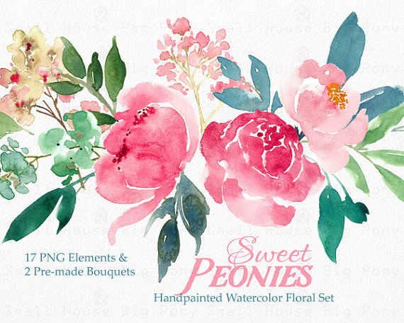 Peony clipart watercolor flower Bouquet Digital peonies art Clipart