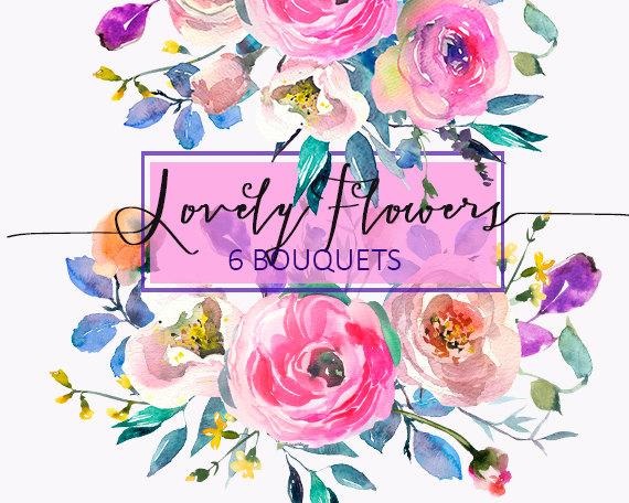 Ranuncula clipart digital Bouquets Flowers DIY Floral Watercolor