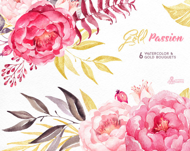 Peony clipart wedding invitation #3