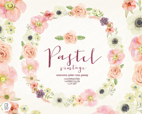 Wreath clipart pastel flower Wreath pastel juliet roses anemone