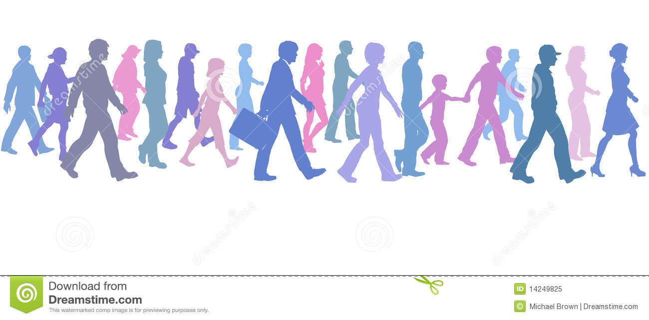 Crowd clipart walking Walking people Group Clipart People