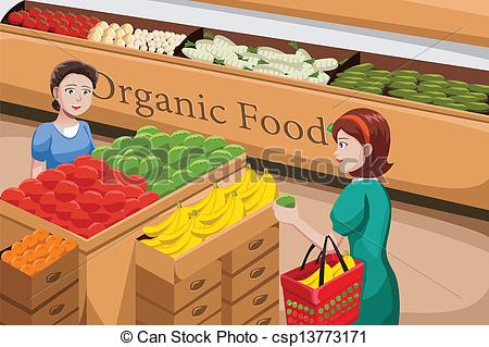People clipart grocery shopping A organic shopping of Illustration