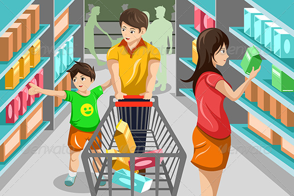 People clipart grocery shopping GraphicRiver by Grocery Family /