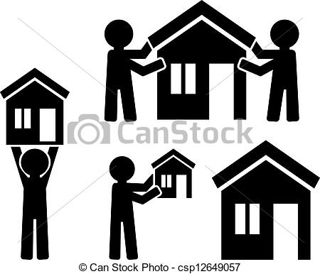 People clipart house Building house Clipart Vector people