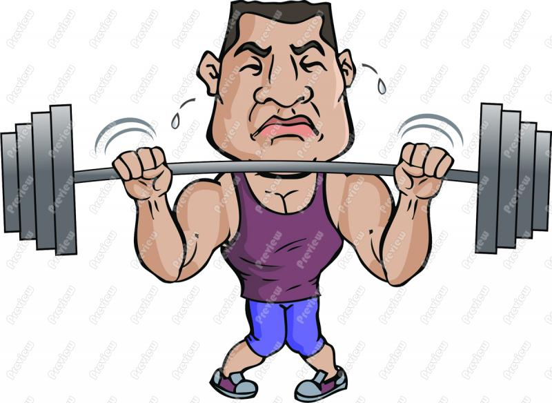 Caricature clipart muscle man Lifting Clip Weights Weights Heavy