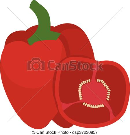 Pepper clipart vector Half with bell Red pepper