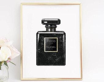 Perfume clipart coco chanel Wall Parfum Chanel Art Etsy