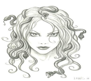 Medusa clipart black and white #1