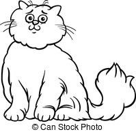Persian Cat clipart black and white White Clipart cat and Persian