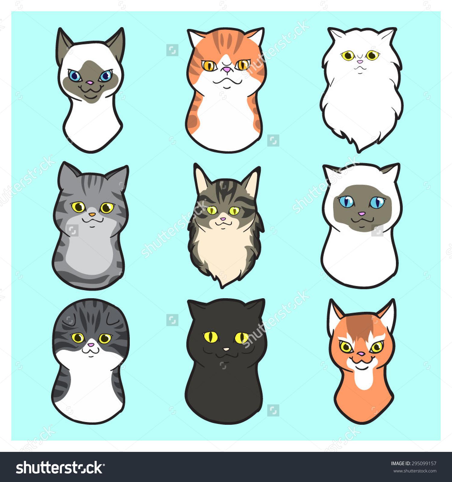 Persian Cat clipart cartoon Exotic set cat  black