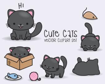 Persian Cat clipart kawaii cat Cats Clipart Black Premium Set