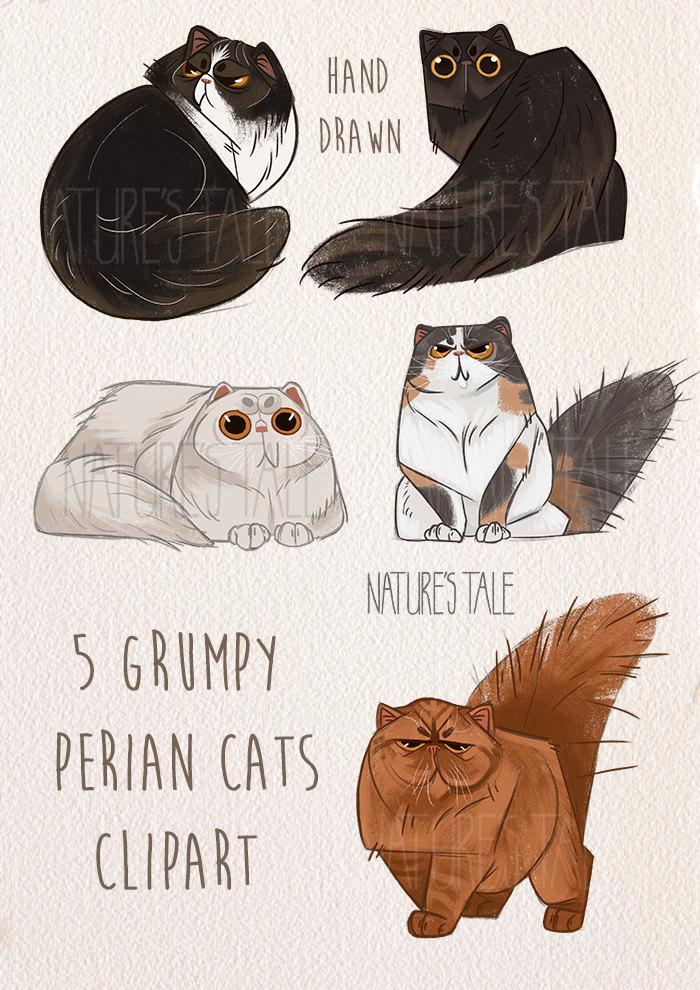 Persian Cat clipart Grumpy a Cats is digital