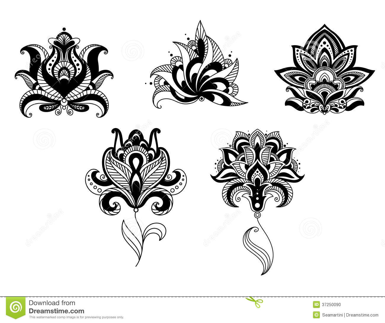 Persian clipart indian Set Stock Over And Floral